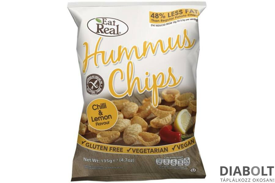 EAT REAL HUMMUS CHIPS CHILIS ÉS CITROMOS 45G