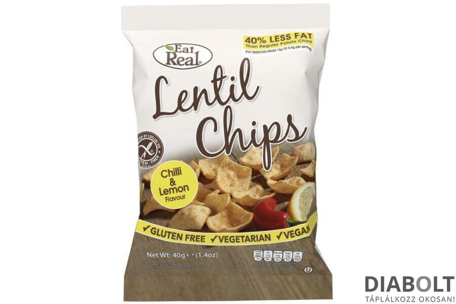 EAT REAL LENCSE CHIPS CHILIS ÉS CITROMOS 40G